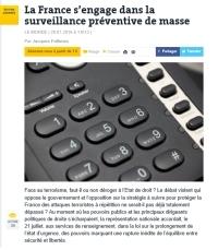 [LeMonde] La France s'engage dans la surveillance préventive de masse