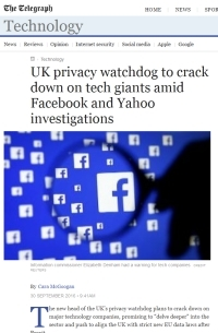 [TheTelegraphUK] UK privacy watchdog to crack down on tech giants amid Facebook and Yahoo investigations