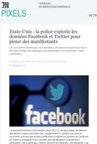 [Le Monde] Etats-Unis : la police exploite les données Facebook et Twitter pour pister des manifestants