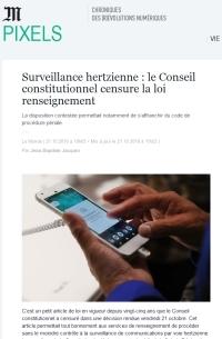 [LeMonde] Surveillance hertzienne : le Conseil constitutionnel censure la loi renseignement