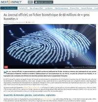 [NextINpact] Au Journal officiel, un fichier biométrique de 60 millions de « gens honnêtes »