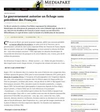 [Mediapart] Le gouvernement autorise un fichage sans précédent des Français