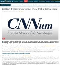 [NextINpact] Le CNNum demande la suspension du fichage de 60 millions de Français