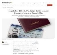 [franceinfo] Mégafichier TES : la Quadrature du Net souhaite déposer un recours au Conseil d'État