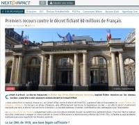 [NextINpact] Premiers recours contre le décret fichant 60 millions de Français