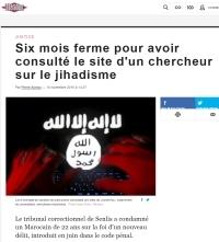 [Liberation] Six mois ferme pour avoir consulté le site d'un chercheur sur le jihadisme