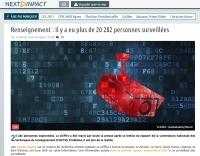 [NextINpact] Renseignement : il y a eu plus de 20 282 personnes surveillées