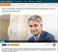 [NextINpact] Pour le contrôleur européen, le projet ePrivacy ne protège pas assez les données des internautes