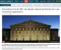 [NextINpact] Prescription et loi de 1881 : des députés refusent qu'Internet soit « une circonstance aggravante »