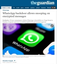 [TheGuardian] WhatsApp backdoor allows snooping on encrypted messages