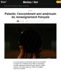 [Télérama] Palantir, l'encombrant ami américain du renseignement français