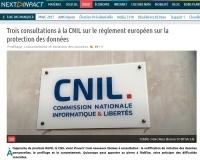 [NextINpact] Trois consultations à la CNIL sur le règlement européen sur la protection des données