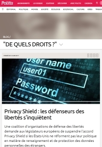 [Politis] Privacy Shield : les défenseurs des libertés s'inquiètent