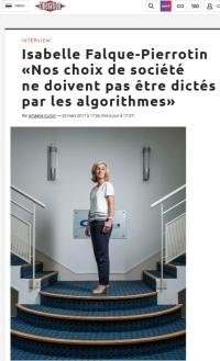 [Liberation] Isabelle Falque-Pierrotin «Nos choix de société ne doivent pas être dictés par les algorithmes»