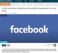 [NextINpact] La CNIL sanctionne Facebook pour de multiples manquements sur la vie privée