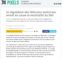 [LeMonde] Le régulateur des télécoms américain remet en cause la neutralité du Net