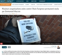 [NextINpact] Plusieurs organisations unies contre l'état d'urgence permanent voulu par Emmanuel Macron