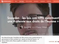 [Numerama] Snowden: les lois anti-VPN constituent une «atteinte aux droits de l'homme»