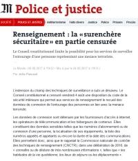 [LeMonde] Renseignement : la « surenchère sécuritaire » en partie censurée