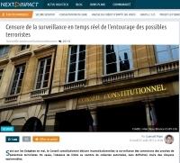 [NextINpact] Censure de la surveillance en temps réel de l'entourage des possibles terroristes