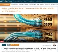 [NextINpact] Hadopi : pour la CADA, le taux d'erreur dans l'identification des IP est une information publique