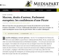[Mediapart] Macron, droits d'auteur, Parlement européen: les confidences d'une Pirate
