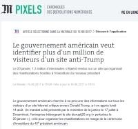 [LeMonde] Le gouvernement américain veut identifier plus d'un million de visiteurs d'un site anti-Trump