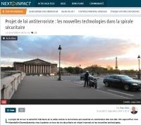 [NextINpact] Projet de loi antiterroriste : les nouvelles technologies dans la spirale sécuritaire