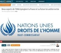 [NextINpact] Deux experts de l'ONU épinglent la France et sa future loi antiterroriste