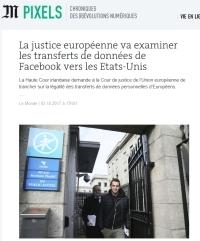 [LeMonde] La justice européenne va examiner les transferts de données de Facebook vers les Etats-Unis