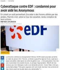 [LePoint] Cyberattaque contre EDF : condamné pour avoir aidé les Anonymous