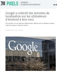[LeMonde] Google a collecté des données de localisation sur les utilisateurs d'Android à leur insu