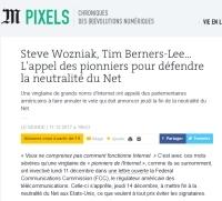 [LeMonde] Steve Wozniak, Tim Berners-Lee… L'appel des pionniers pour défendre la neutralité du Net