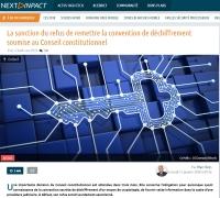 [NextINpact] La sanction du refus de remettre la convention de déchiffrement soumise au Conseil constitutionnel
