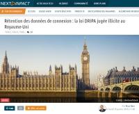 [NextINpact] Rétention des données de connexion : la loi DRIPA jugée illicite au Royaume-Uni