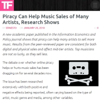 [TorrentFreak] Piracy Can Help Music Sales of Many Artists, Research Shows