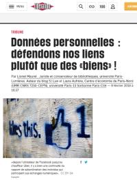 [Liberation] Données personnelles : défendons nos liens plutôt que des « biens » !
