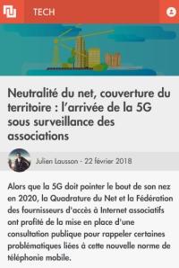 [Numerama] Neutralité du net, couverture du territoire : l'arrivée de la 5G sous surveillance des associations