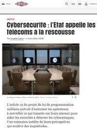 [Liberation] Cybersécurité : l'Etat appelle les télécoms à la rescousse