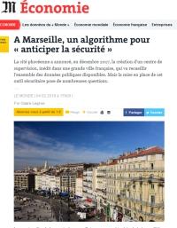 [LeMonde] A Marseille, un algorithme pour « anticiper la sécurité »