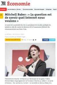 [LeMonde] Mitchell Baker : « La question est de savoir quel Internet nous voulons »