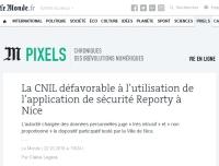 [LeMonde] La CNIL défavorable à l'utilisation de l'application de sécurité Reporty à Nice