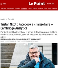 [LePoint] Tristan Nitot : Facebook a « laissé faire » Cambridge Analytica