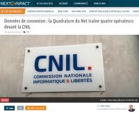 [NextINpact] Données de connexion : la Quadrature du Net traîne quatre opérateurs devant la CNIL