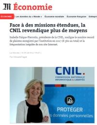 [LeMonde] Face à des missions étendues, la CNIL revendique plus de moyens