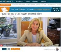 [NextINpact] 8 360 plaintes à la CNIL en 2017, une année record
