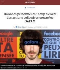 [LeFigaro] Données personnelles : coup d'envoi des actions collectives contre les GAFAM