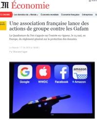 [LeMonde] Une association française lance des actions de groupe contre les Gafam