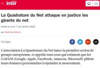 [FranceInter] La Quadrature du Net attaque en justice les géants du net