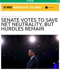 [Wired] Senate Votes to Save Net Neutrality, but Hurdles Remain